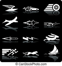 speed icons - A conceptual icon set relating to speed, being...