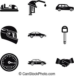 Speed icons set, simple style