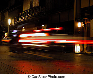 Speed in Gion - Gion is the geisha ward in Kyoto, a very ...