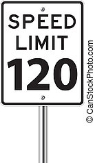 Speed limit 120 traffic sign on white