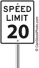 Speed limit 20 traffic sign