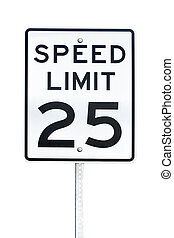 Speed limit 25 sign - Speed limit 25 mph sign isolated on...
