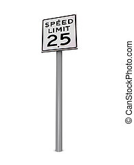 Speed Limit 25 - Computer generated 3D illustration with a...
