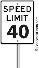 Speed limit 40 traffic sign on white