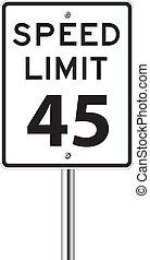 Speed limit 45 traffic sign