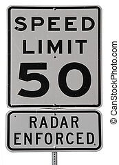 Speed Limit 50 Radar Enforced isolated road sign