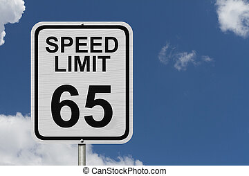 Speed Limit 65 Sign - A white American road sign with words...