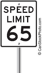 Speed limit 65 traffic light on white