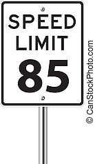 Speed limit 85 traffic sign