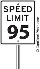 Speed limit 95 traffic sign
