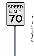 Speed Limit at 70 - A speed limit sign indicating seventy...