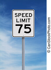 Speed Limit at 75 - A speed limit sign indicating seventy...