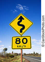 Speed limit curve ahead sign