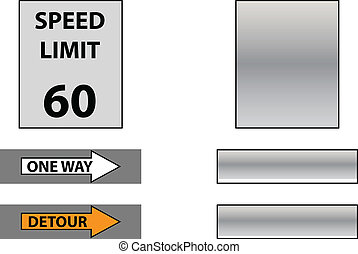 speed limit, detour and one way