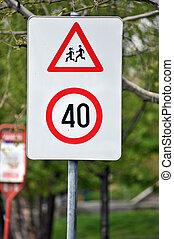 speed limit near school sign - speed limit and near school...