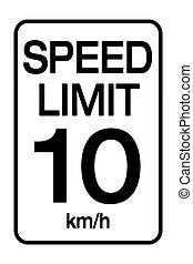 Speed limit road sign. Speed limit is 10 km h sign. Vector...