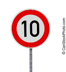 Speed limit sign 10 isolated on white background