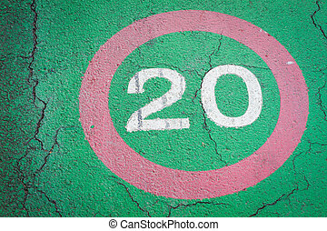 speed limit sign 20 kilometers on bike lane