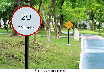 speed limit sign 20 on road in the park