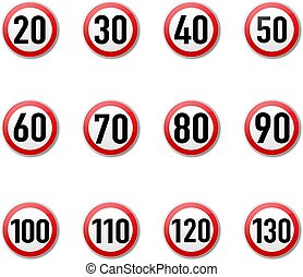 Speed Limit Sign Collection isolated White Background