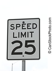Speed Limit Sign - Close up view of a 25 mph speed limit...