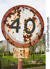 Speed limit sign - A 40 km/h speed limit sign in a bad...