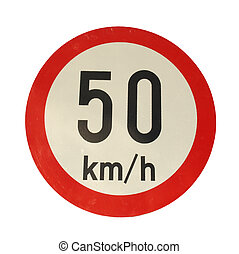 Speed limit sign - Traffic speed limit sign isolated over...