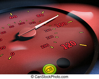 Speed limit - Increasing speed measured by a tachymeter....