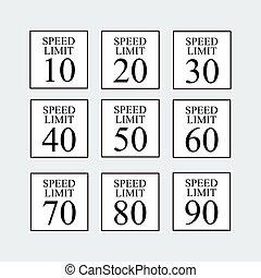 Speed Limit Traffic Sign Set.Vector Illustration