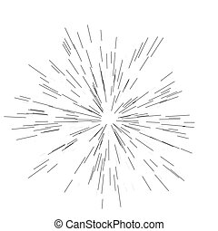 Speed lines. Radiating from the center of thin beams, lines. Vector illustration. Icon black on white. Design element.
