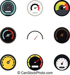 Speed measurement icons set, flat style