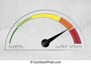 speedometer going from normal to super speed and with different colors