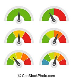 Speed Meter Icons Set on White Background. Vector