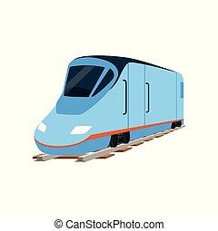 Speed modern blue train locomotive vector Illustration