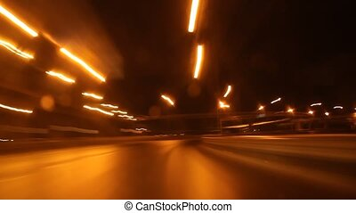 speed motion on night road - time lapse speed motion on...