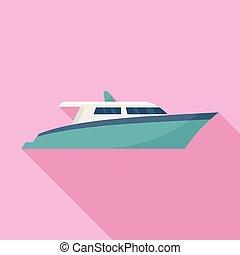 Speed motor yacht icon, flat style