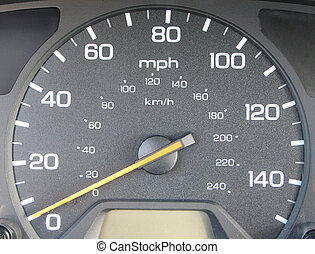 Speed O Meter - car\\\'s speed o meter with the needle at...