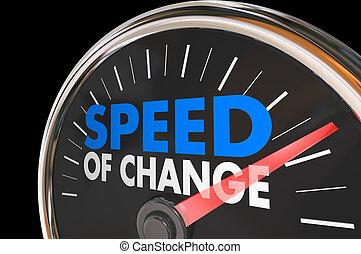 Speed of Change Clock Progress Evolution Time Words 3d Illustration
