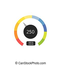 Speed or fuel level meter tool of dashboard, flat vector ...