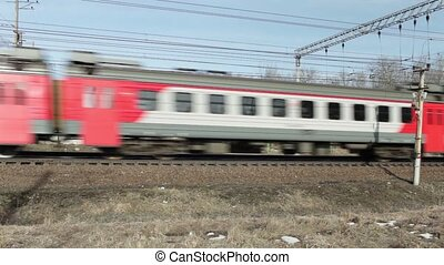 speed passenger electric train in motion