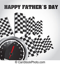 fathers day - speed racing, happy fathers day card. vector...