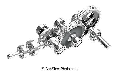 Speed reducer - Mechanism concept 3d render of a speed...