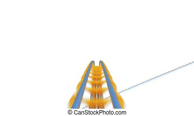 Speed Ride on Roller-Coaster Extremely Fast on White...