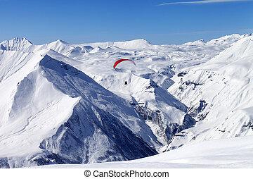 Speed riding in high mountains. Caucasus Mountains. Georgia, winter resort Gudauri.