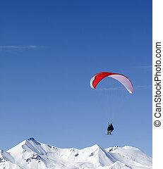 Speed riding in Caucasus Mountains. Georgia, ski resort Gudauri.