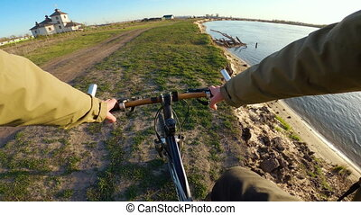 Speed riding mountain bike. View from first person ...