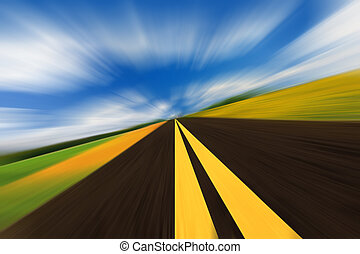 Speed road - The high-speed autobahn with blurred motion