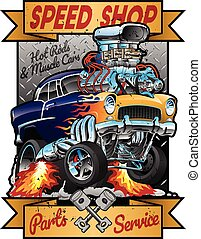 Speed Shop Hot Rod Muscle Car Parts and Service Vintage...