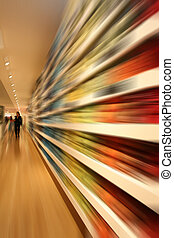 Speed shopping - row in shopping mall with speed blur