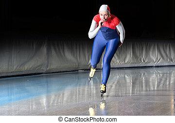 Speed skater at speed